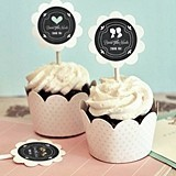 Chalkboard Motif Cupcake Wraps and Toppers (Set of 24)