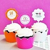 Vintage Design Cupcake Wraps and Toppers (Set of 24)