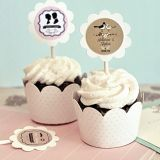 Shabby Chic Cupcake Wraps and Personalized Toppers (Set of 24)
