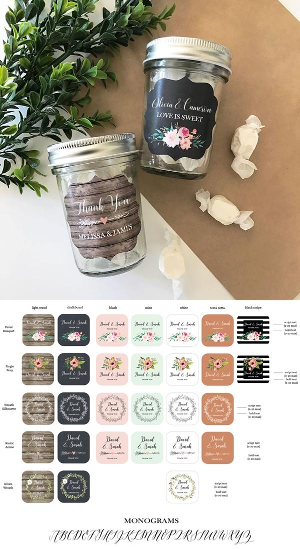 Event Blossom Personalized Floral Garden Mini Mason Jars