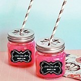 Personalized Chalkboard Baby Shower Mason Jars with Flower Cutout Lids
