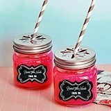 Personalized Chalkboard Wedding Mason Jars with Flower Cutout Lids