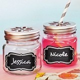 Mason Drinking Jars with Flower Cutout Lids & Vinyl Chalkboard Labels
