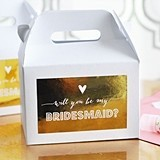 Metallic Foil Bridesmaid & Maid of Honor Question Boxes (Set of 8)
