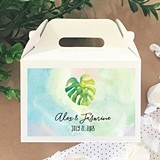 Personalized Mini Gable Boxes with Tropical Beach Designs (Set of 12)