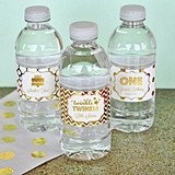 Personalized Metallic Foil Birthday Weatherproof Water Bottle Labels