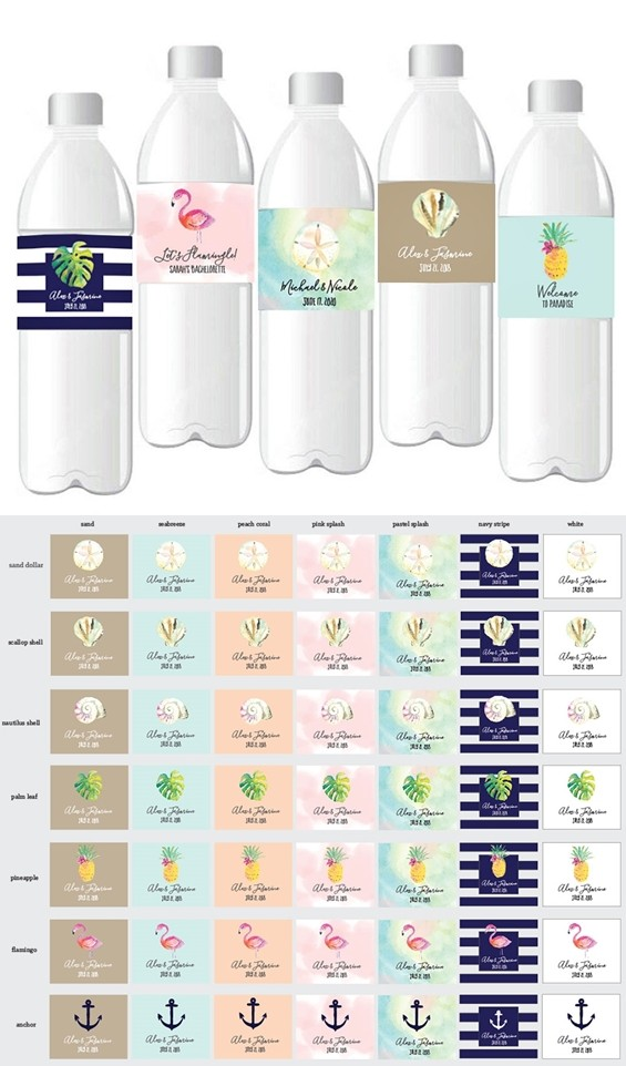 Personalized Tropical Beach Designs Weatherproof Water Bottle