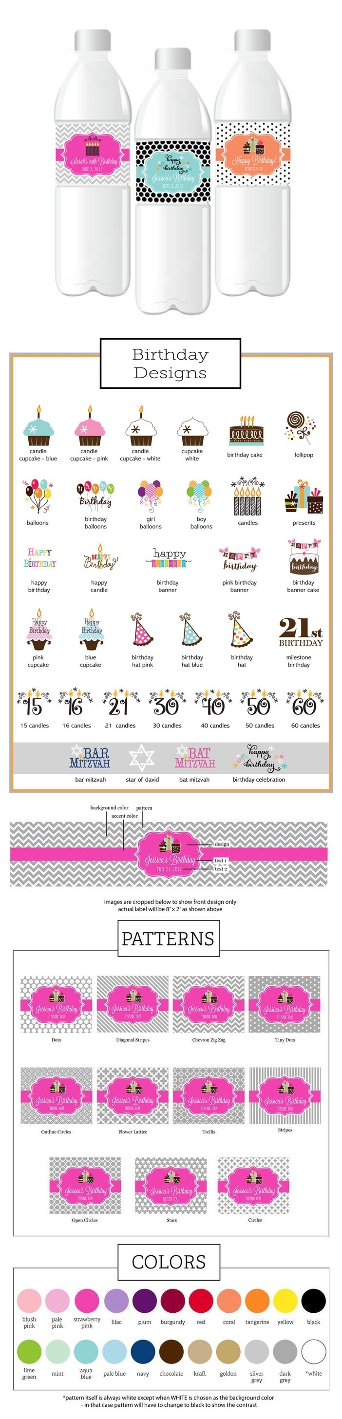 Event Blossom Personalized Birthday Water Bottle Labels (34 Designs)