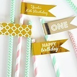 Personalized Metallic Foil Flag Labels for Birthday Party