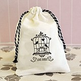 Fabulous Shabby Chic Love Birds Design Muslin Favor Bags (Set of 12)