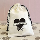 Fabulous Shabby Chic Love Heart Design Muslin Favor Bags (Set of 12)