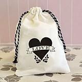 Fabulous Shabby Chic Love Heart Design Muslin Favor Bags (Set of 12)