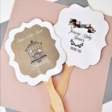 Personalized Paddle-Shaped Fans with Vintage Baby-Themed Labels