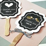 Chalkboard Motif Personalized Paddle-Shaped Fans