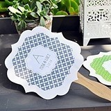 Modern Patterns Monogrammed Paddle-Shaped Fans