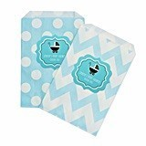 Personalized Blue Baby Shower Chevron & Dots Goody Bags (Set of 12)