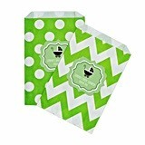 Personalized Green Baby Shower Chevron & Dots Goody Bags (Set of 12)
