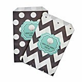 Personalized Beach Party Chevron and Dots Goody Bags (Set of 12)