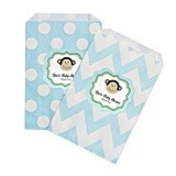 Personalized Blue Monkey Chevron and Dots Goody Bags (Set of 12)