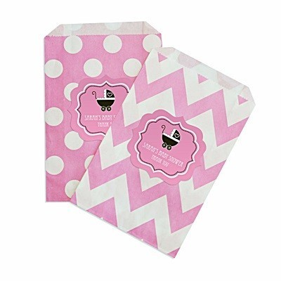 personalized pink baby shower chevron dots goody bags set of 12