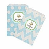 Personalized Blue Owl Chevron and Dots Goody Bags (Set of 12)