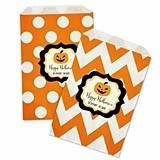 Personalized Classic Halloween Chevron and Dots Goody Bags (Set of 12)