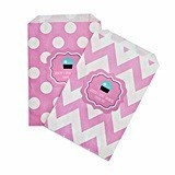Personalized Cupcake Party Chevron and Dots Goody Bags (Set of 12)