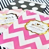 Personalized Metallic Foil Chevron & Dots Goody Bags (Set of 12)