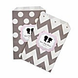 Personalized Gender Reveal Party Chevron & Dots Goody Bags (Set of 12)