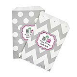 Personalized Holiday Party Chevron & Dots Goody Bags (Set of 12)