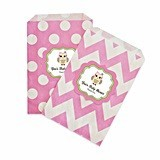 Personalized Pink Owl Chevron and Dots Goody Bags (Set of 12)