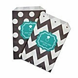 Personalized Something Blue Chevron and Dots Goody Bags (Set of 12)