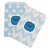Personalized Super Hero Boy Birthday Chevron & Dots Goody Bags (12)