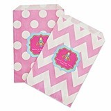 Personalized Super Hero Girl Birthday Chevron & Dots Goody Bags (12)