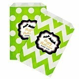 Personalized Spooky Halloween Chevron and Dots Goody Bags (Set of 12)
