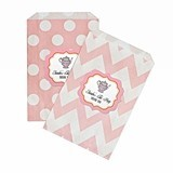 Personalized Tea Party Chevron and Dots Goody Bags (Set of 12)