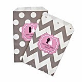 Personalized Wedding Shower Chevron and Dots Goody Bags (Set of 12)