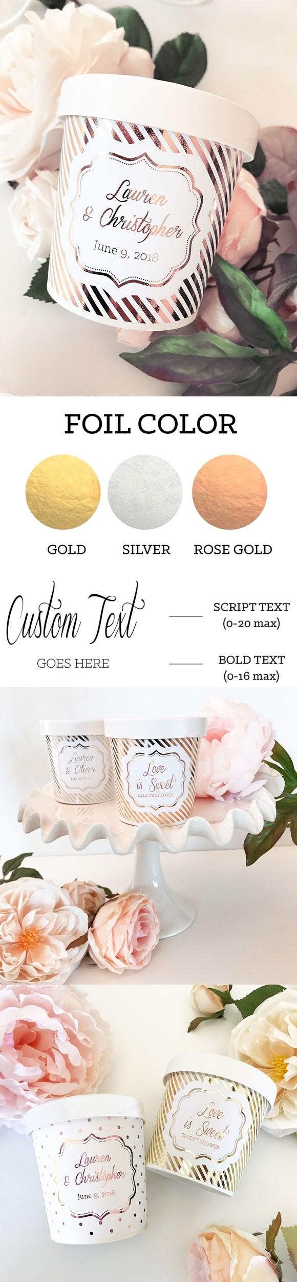 Personalized Metallic Foil Custom Mini Ice Cream Containers (3 Colors)