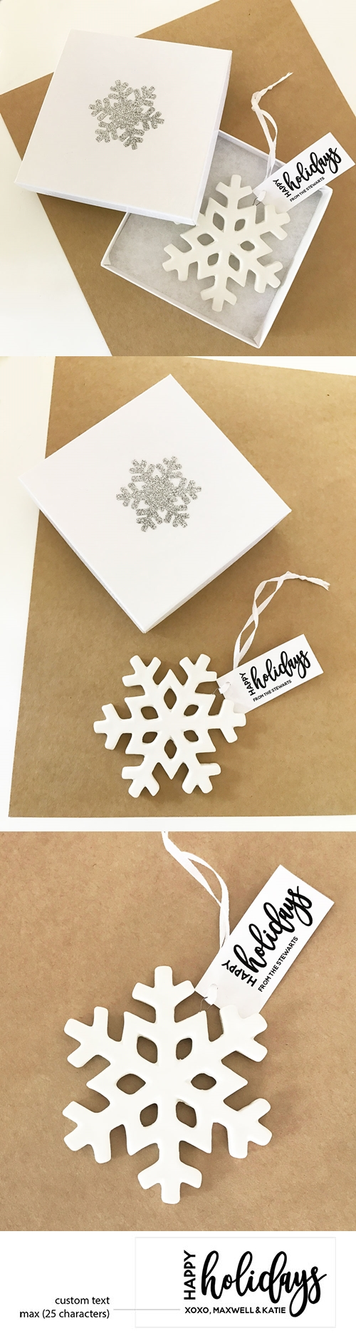 Event Blossom Personalized Happy Holidays Snowflake Ornament