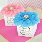 Personalizable Faux-Flower-Topped Favor Boxes with Gems (Set of 12)