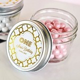 Personalized Metallic Foil Birthday Small 4 Ounce Mason Jars
