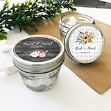 Personalized Small 4 Ounce Mason Jars with Floral Garden Designs