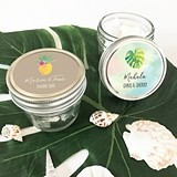 Personalized Small 4 Ounce Mason Jars with Tropical Beach Designs