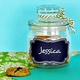 Mini Cookie Jars with Vinyl Chalkboard Cling Labels
