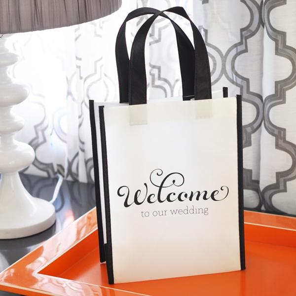 Event Blossom Black & White Wedding Welcome Tote Bag