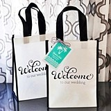 Black & White Wedding Welcome Tote Bags with Personalized Tags