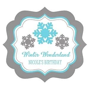Personalized Winter Wonderland Frame-Shaped Labels