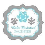 Personalized Winter Wonderland Frame-Shaped Labels