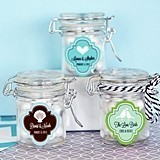 Silhouette Design Personalized Miniature Glass Jars w/ Swing-Top Lids