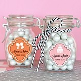 Silhouette Design Personalized Small Glass Jars with Swing-Top Lids